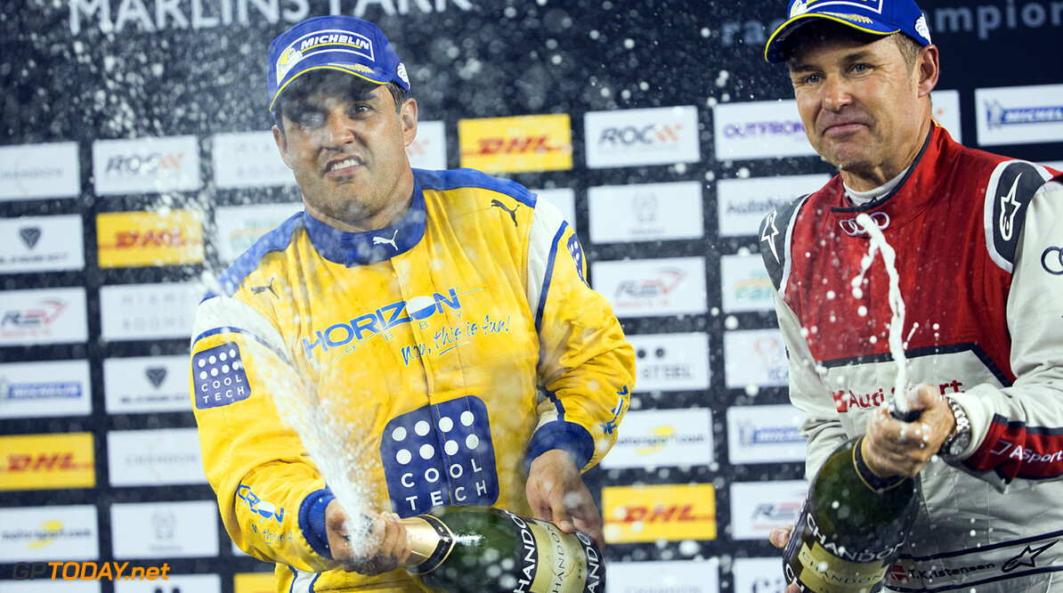 2017 Race of Champions, Marlins Park, Miami, USA Champion of Champions Juan-Pablo Montoya (COL) celebrates his win on the podium with runner up Tom Kristensen (DNK) during the Race of Champions on Saturday 21 January 2017 at Marlins Park, Miami, Florida, USA      portrait