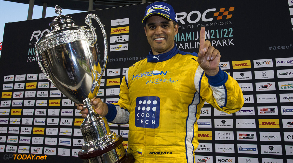 2017 Race of Champions, Marlins Park, Miami, USA Juan-Pablo Montoya (COL) celebrates being crowned the Champion of Champions on the podium during the Race of Champions on Saturday 21 January 2017 at Marlins Park, Miami, Florida, USA      portrait