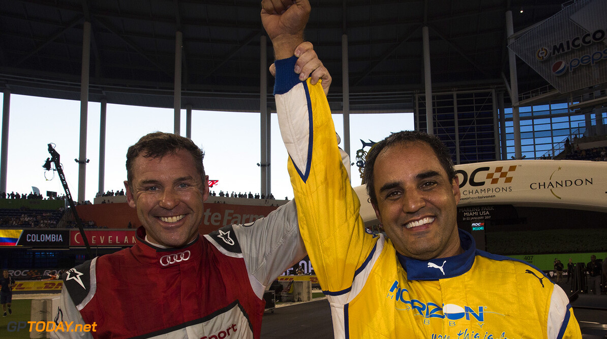 2017 Race of Champions, Marlins Park, Miami, USA Juan-Pablo Montoya (COL) celebrates being crowned the Champion of Champions with runner up Tom Kristensen (DNK) during the Race of Champions on Saturday 21 January 2017 at Marlins Park, Miami, Florida, USA      portrait