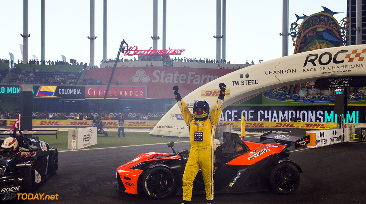 2017 Race of Champions, Marlins Park, Miami, USA Juan-Pablo Montoya (COL) celebrates after being crowned the Champion of Champions during the Race of Champions on Saturday 21 January 2017 at Marlins Park, Miami, Florida, USA      portrait