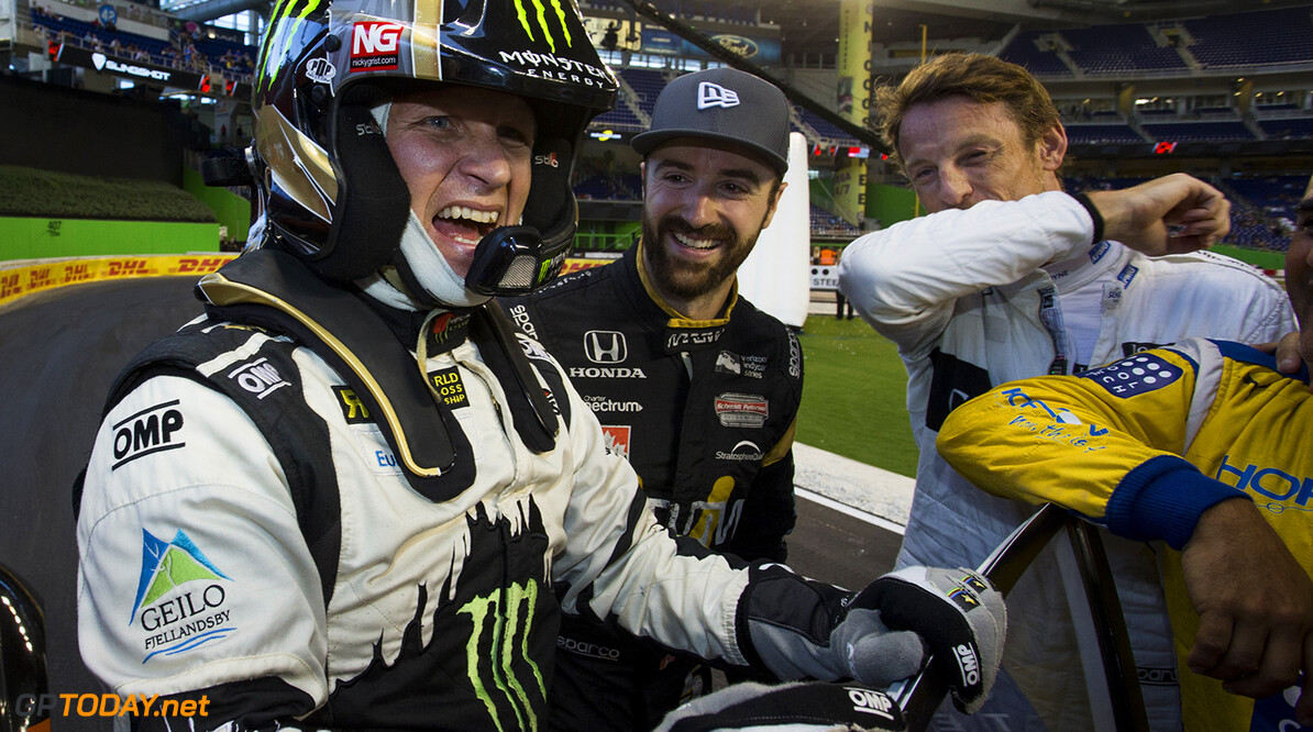 2017 Race of Champions, Marlins Park, Miami, USA Petter Solberg (NOR) celebrates after winning for the Rest of the World team against the USA team during the ROC Nations Cup on Sunday 22 January 2017 at Marlins Park, Miami, Florida, USA