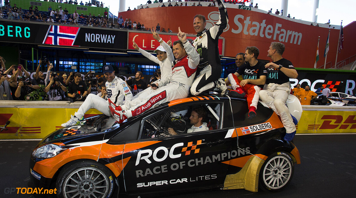 2017 Race of Champions, Marlins Park, Miami, USA The Rest of the World team celebrate after winning during the ROC Nations Cup on Sunday 22 January 2017 at Marlins Park, Miami, Florida, USA