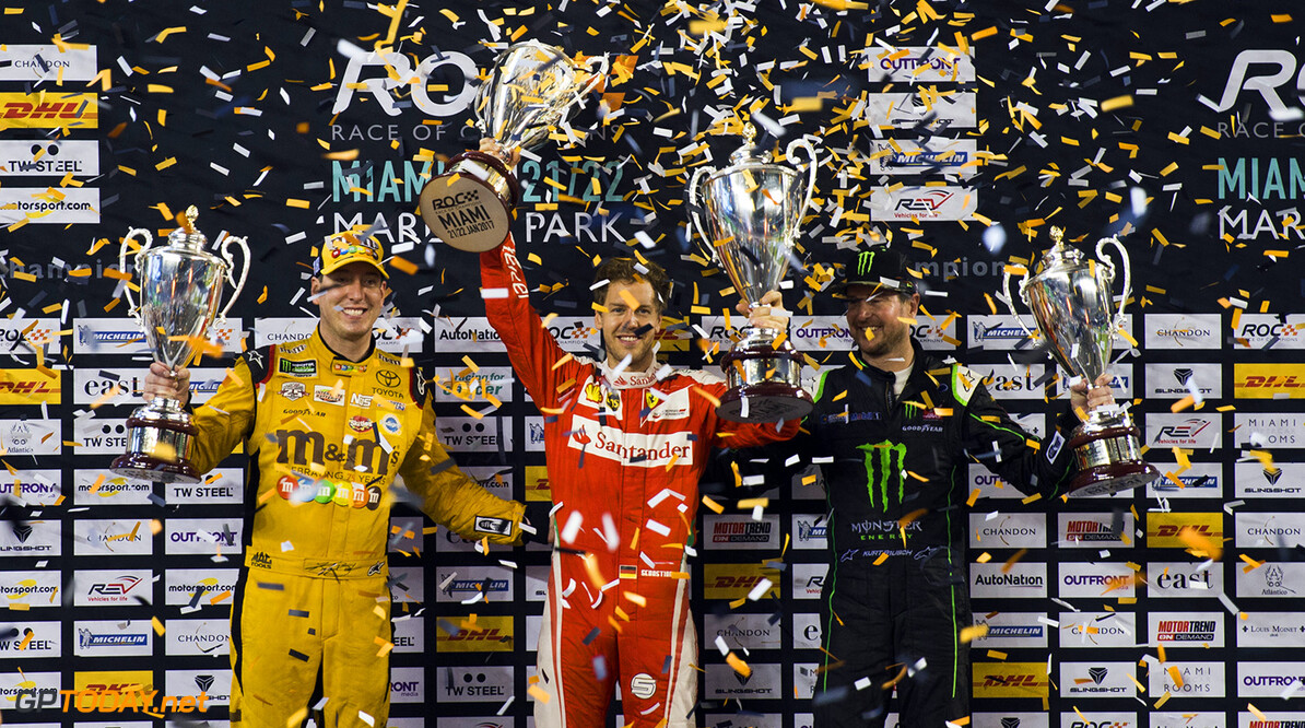 2017 Race of Champions, Marlins Park, Miami, USA ROC Nations Cup winner Team Germany Sebastian Vettel (GER) with runners up Team USA NASCAR Kurt Busch (USA) and Kyle Busch (USA) during the ROC Nations Cup on Sunday 22 January 2017 at Marlins Park, Miami, Florida, USA