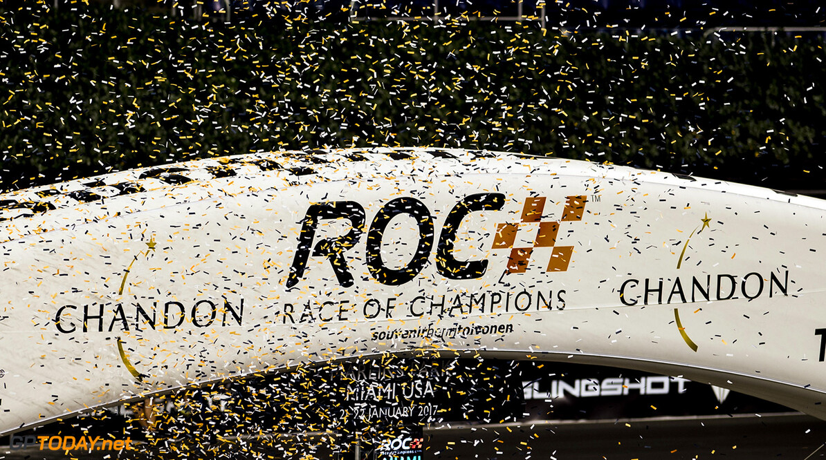 2017 Race of Champions, Marlins Park, Miami, USA Ticker tape falls during the Race of Champions on Saturday 21 January 2017 at Marlins Park, Miami, Florida, USA
