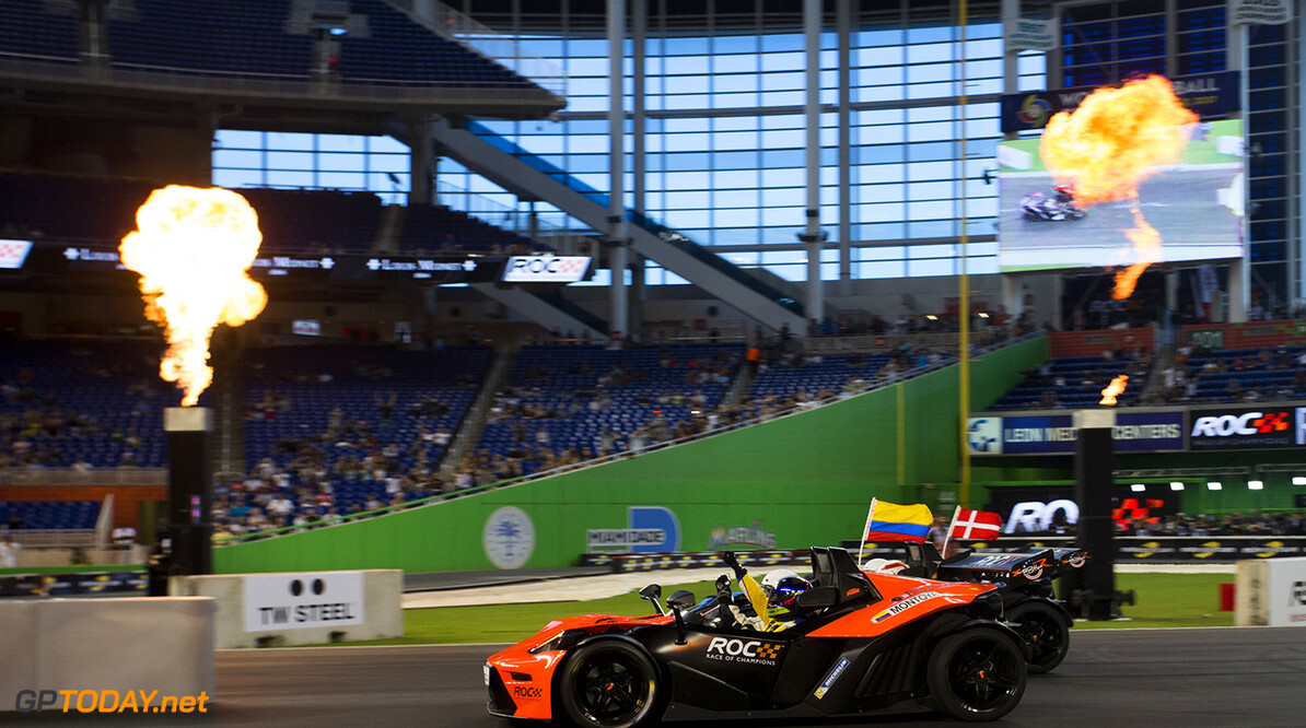 2017 Race of Champions, Marlins Park, Miami, USA Juan-Pablo Montoya (COL) beats Tom Kristensen (DNK) across the line driving the KTM X-Bow Comp R to be crowned the Champion of Champions during the Race of Champions on Saturday 21 January 2017 at Marlins Park, Miami, Florida, USA      action