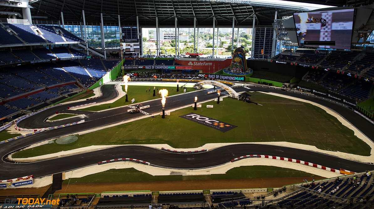 2017 Race of Champions, Marlins Park, Miami, USA Team USA NASCAR Kyle Busch (USA) beats ROC Factor Canada Stefan Rzadzinski (CAN) driving the VUHL 05 during the ROC Nations Cup on Sunday 22 January 2017 at Marlins Park, Miami, Florida, USA