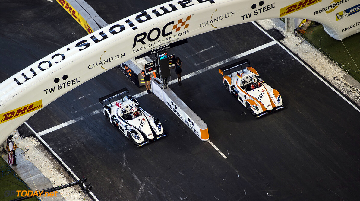 2017 Race of Champions, Marlins Park, Miami, USA Team Nordic Tom Kristensen (DNK) races Team Germany Sebastian Vettel (GER) driving the Radical SR3 RSX during the ROC Nations Cup on Sunday 22 January 2017 at Marlins Park, Miami, Florida, USA