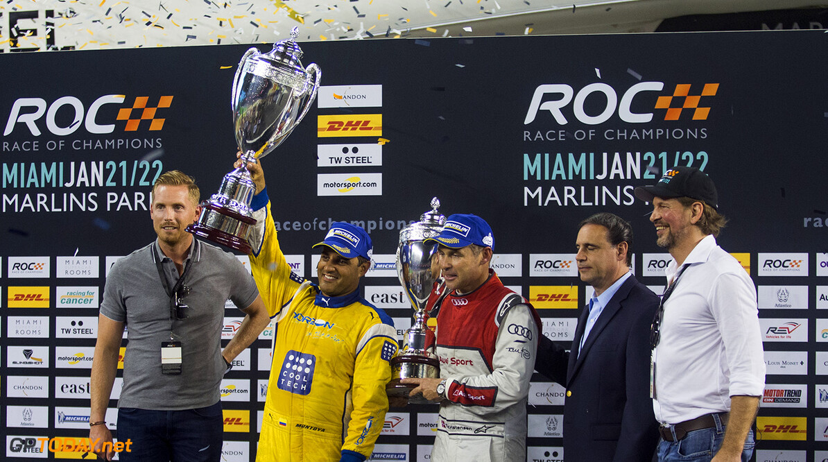 2017 Race of Champions, Marlins Park, Miami, USA Juan-Pablo Montoya (COL) celebrates being crowned the Champion of Champions on the podium with Tom Kristensen (DNK) during the Race of Champions on Saturday 21 January 2017 at Marlins Park, Miami, Florida, USA      portrait