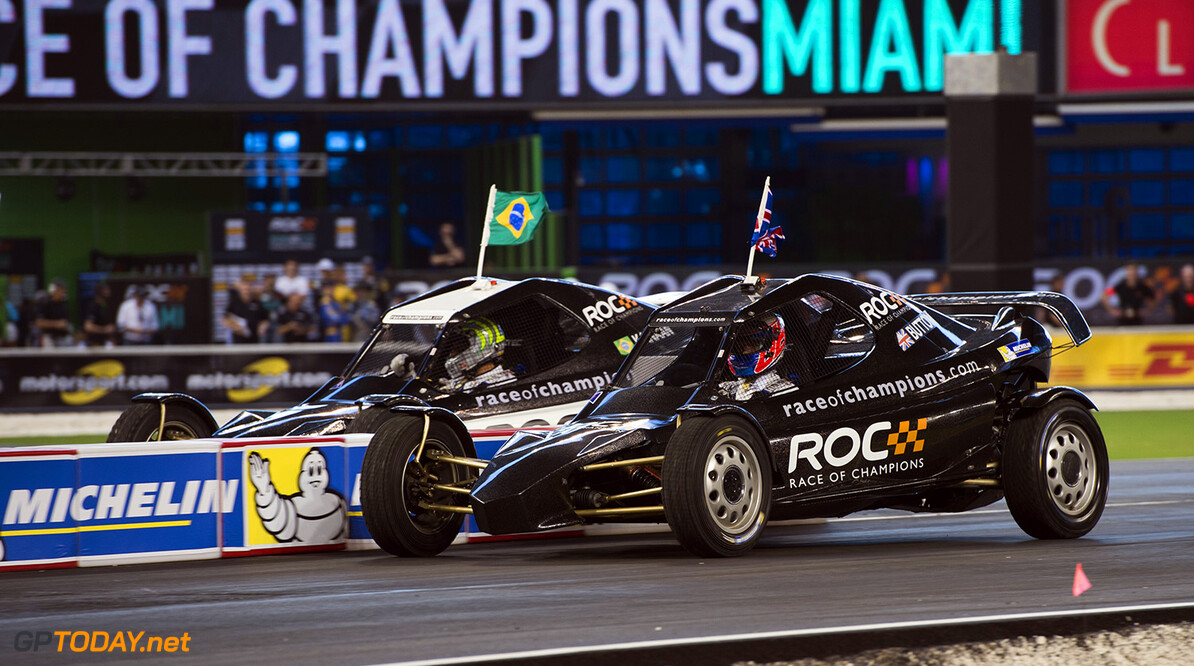 2017 Race of Champions, Marlins Park, Miami, USA Jenson Button (GBR) races Tony Kanaan (BRA) in the ROC Car during the Race of Champions on Saturday 21 January 2017 at Marlins Park, Miami, Florida, USA