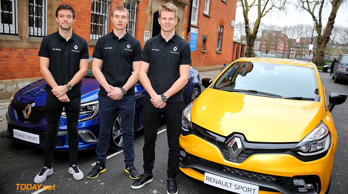 Formula One World Championship (L to R): Jolyon Palmer (GBR) Renault Sport F1 Team with Sergey Sirotkin (RUS) Renault Sport F1 Team Third Driver and Nico Hulkenberg (GER) Renault Sport F1 Team.