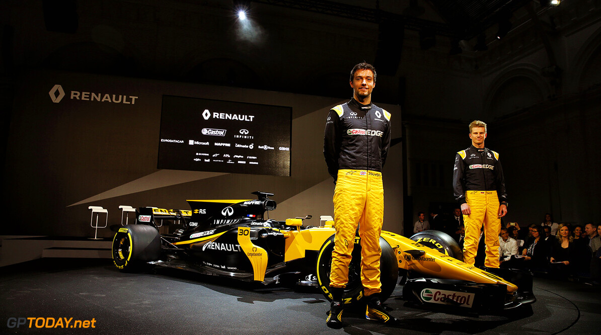 Formula One World Championship Jolyon Palmer (GBR) Renault Sport F1 Team and team mate Nico Hulkenberg (GER) Renault Sport F1 Team with the Renault Sport F1 Team RS17.