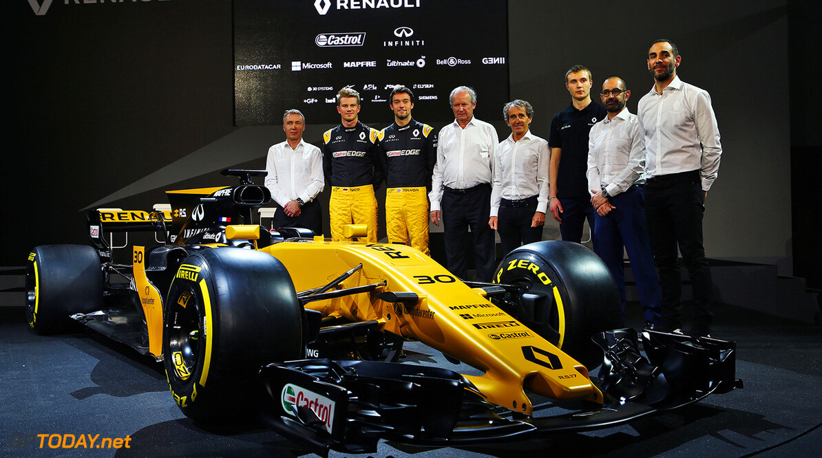 Formula One World Championship (L to R): Bob Bell (GBR) Renault Sport F1 Team Chief Technical Officer; Nico Hulkenberg (GER) Renault Sport F1 Team; Jolyon Palmer (GBR) Renault Sport F1 Team; Jerome Stoll (FRA) Renault Sport F1 President; Alain Prost (FRA); Sergey Sirotkin (RUS) Renault Sport F1 Team Third Driver; Thierry Koskas, Renault Executive Vice President of Sales and Marketing; Cyril Abiteboul (FRA) Renault Sport F1 Managing Director, and the Renault Sport F1 Team RS17.