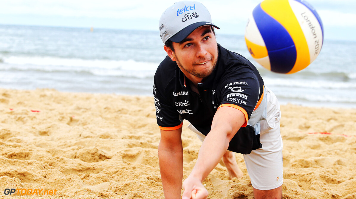 Formula One World Championship Sergio Perez (MEX) Sahara Force India F1 plays volleyball on Brighton Beach. Australian Grand Prix, Wednesday 22nd March 2017. Albert Park, Melbourne, Australia. Motor Racing - Formula One World Championship - Australian Grand Prix - Preparation Day - Melbourne, Australia James Moy Photography Melbourne Australia  Formula One Formula 1 F1 GP Grand Prix Circuit Australia Australian Oz Albert Park Melbourne JM678 Sergio P?rez Sergio P?rez Mendoza Checo Perez Checo P?rez Portrait GP1701z