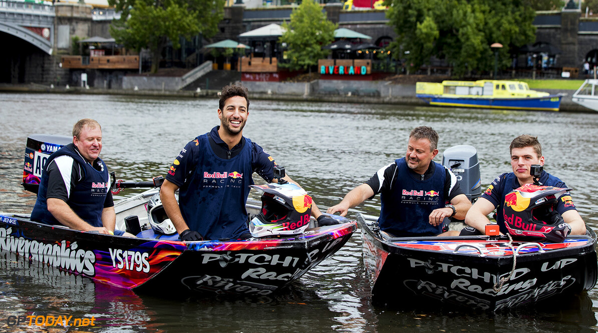 MELBOURNE, AUSTRALIA - MARCH 22:  Daniel Ricciardo of Australia and Red Bull Racing and Max Verstappen of Netherlands and Red Bull Racing at the end of the Red Bull Racing Dinghy Dash on the Yarra River during previews to the Australian Formula One Grand Prix at Albert Park on March 22, 2017 in Melbourne, Australia.  (Photo by Mark Thompson/Getty Images) // Getty Images / Red Bull Content Pool  // P-20170322-00035 // Usage for editorial use only // Please go to www.redbullcontentpool.com for further information. //  Australian F1 Grand Prix - Previews  Melbourne Australia  P-20170322-00035