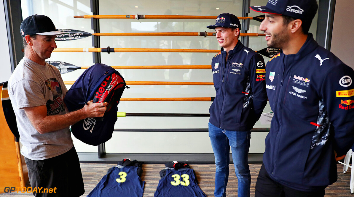 MELBOURNE, AUSTRALIA - MARCH 22:  Daniel Ricciardo of Australia and Red Bull Racing and Max Verstappen of Netherlands and Red Bull Racing are presented with special edition helmets for the Red Bull Racing Dinghy Dash on the Yarra River during previews to the Australian Formula One Grand Prix at Albert Park on March 22, 2017 in Melbourne, Australia.  (Photo by Mark Thompson/Getty Images) // Getty Images / Red Bull Content Pool  // P-20170322-00014 // Usage for editorial use only // Please go to www.redbullcontentpool.com for further information. //  Australian F1 Grand Prix - Previews Mark Thompson Melbourne Australia  P-20170322-00014