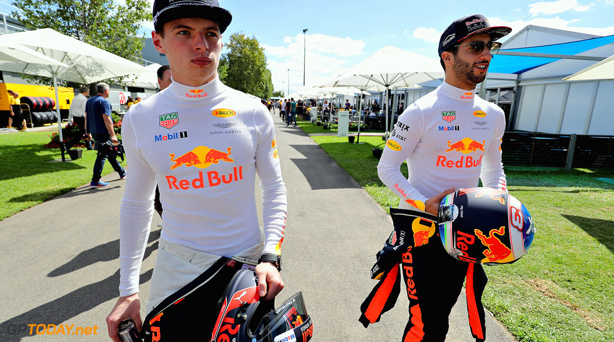 MELBOURNE, AUSTRALIA - MARCH 23:  Daniel Ricciardo of Australia and Red Bull Racing and Max Verstappen of Netherlands and Red Bull Racing walk in the Paddock  during previews to the Australian Formula One Grand Prix at Albert Park on March 23, 2017 in Melbourne, Australia.  (Photo by Mark Thompson/Getty Images) // Getty Images / Red Bull Content Pool  // P-20170323-00156 // Usage for editorial use only // Please go to www.redbullcontentpool.com for further information. //  Australian F1 Grand Prix - Previews Mark Thompson Melbourne Australia  P-20170323-00156