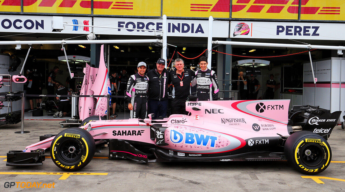 Formula One World Championship (L to R): Sergio Perez (MEX) Sahara Force India F1; Lutz Huebner, BWT? Marketing Chief; Otmar Szafnauer (USA) Sahara Force India F1 Chief Operating Officer, and Esteban Ocon (FRA) Sahara Force India F1 Team with the Sahara Force India F1 VJM10. Australian Grand Prix, Friday 24th March 2017. Albert Park, Melbourne, Australia. Motor Racing - Formula One World Championship - Australian Grand Prix - Practice Day - Melbourne, Australia James Moy Photography Melbourne Australia  Formula One Formula 1 F1 GP Grand Prix Circuit Australia Australian Oz Albert Park Melbourne JM680 Sergio P?rez Sergio P?rez Mendoza Checo Perez Checo P?rez Portrait GP1701b