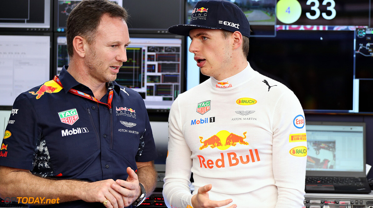 MELBOURNE, AUSTRALIA - MARCH 26: Max Verstappen of Netherlands and Red Bull Racing talks with Red Bull Racing Team Principal Christian Horner in the garage before the Australian Formula One Grand Prix at Albert Park on March 26, 2017 in Melbourne, Australia.  (Photo by Mark Thompson/Getty Images) // Getty Images / Red Bull Content Pool  // P-20170326-00201 // Usage for editorial use only // Please go to www.redbullcontentpool.com for further information. //  Australian F1 Grand Prix Mark Thompson Melbourne Australia  P-20170326-00201