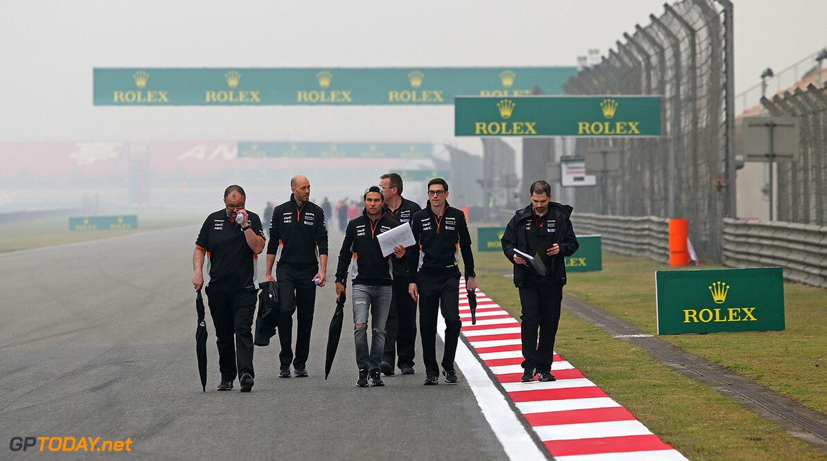 Formula One World Championship Sergio Perez (MEX) Sahara Force India F1 walks the circuit with the team. Chinese Grand Prix, Thursday 6th April 2017. Shanghai, China. Motor Racing - Formula One World Championship - Chinese Grand Prix - Preparation Day - Shanghai, China James Moy Photography Shanghai China  Formula One Formula 1 F1 GP Grand Prix China Chinese Shanghai Shanghai International Circuit JM685 Sergio P?rez Sergio P?rez Mendoza Checo Perez Checo P?rez Portrait GP1702a