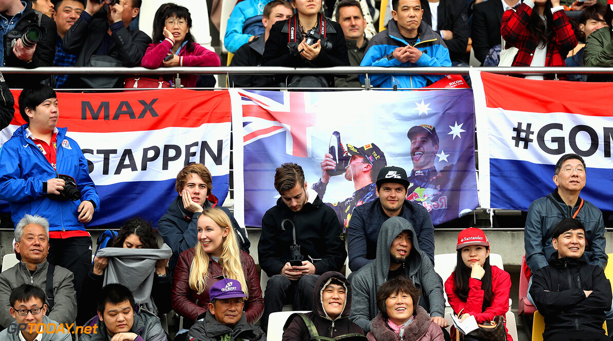SHANGHAI, CHINA - APRIL 07: Red Bull Racing fans in the grand stand during practice for the Formula One Grand Prix of China at Shanghai International Circuit on April 7, 2017 in Shanghai, China.  (Photo by Mark Thompson/Getty Images) // Getty Images / Red Bull Content Pool  // P-20170407-00618 // Usage for editorial use only // Please go to www.redbullcontentpool.com for further information. //  F1 Grand Prix of China - Practice Mark Thompson  China  P-20170407-00618