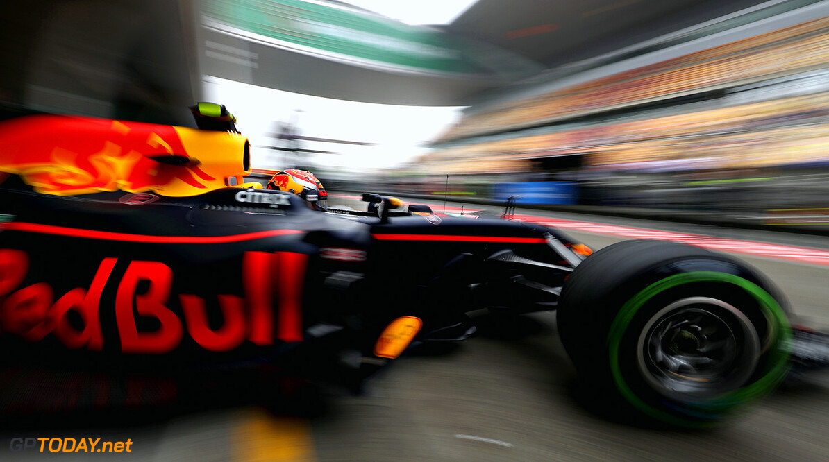 SHANGHAI, CHINA - APRIL 07: Max Verstappen of the Netherlands driving the (33) Red Bull Racing Red Bull-TAG Heuer RB13 TAG Heuer leaves the garage during practice for the Formula One Grand Prix of China at Shanghai International Circuit on April 7, 2017 in Shanghai, China.  (Photo by Mark Thompson/Getty Images) // Getty Images / Red Bull Content Pool  // P-20170407-00454 // Usage for editorial use only // Please go to www.redbullcontentpool.com for further information. //  F1 Grand Prix of China - Practice Mark Thompson  China  P-20170407-00454