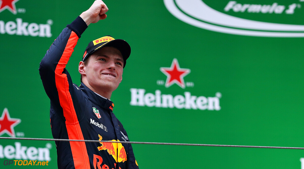 SHANGHAI, CHINA - APRIL 09: Max Verstappen of Netherlands and Red Bull Racing celebrates his third place position on the podium  during the Formula One Grand Prix of China at Shanghai International Circuit on April 9, 2017 in Shanghai, China.  (Photo by Mark Thompson/Getty Images) // Getty Images / Red Bull Content Pool  // P-20170409-00235 // Usage for editorial use only // Please go to www.redbullcontentpool.com for further information. //  F1 Grand Prix of China Mark Thompson  China  P-20170409-00235