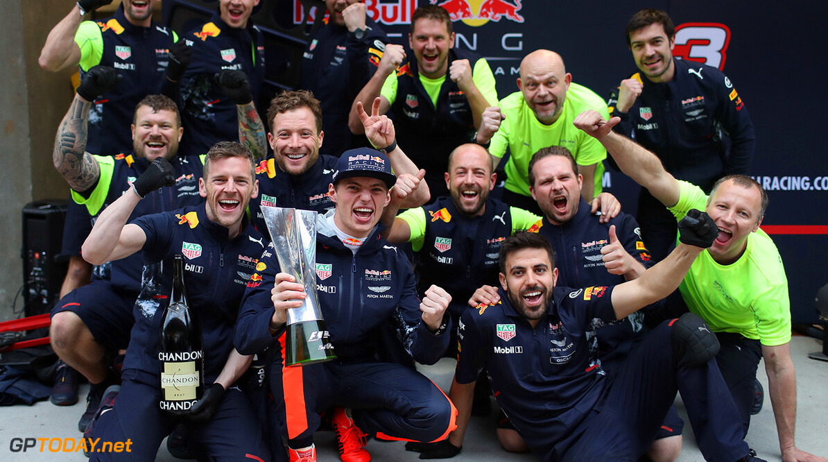 SHANGHAI, CHINA - APRIL 09:  Max Verstappen of Netherlands and Red Bull Racing celebrates finishing in third position with his team during the Formula One Grand Prix of China at Shanghai International Circuit on April 9, 2017 in Shanghai, China.  (Photo by Mark Thompson/Getty Images) // Getty Images / Red Bull Content Pool  // P-20170409-00504 // Usage for editorial use only // Please go to www.redbullcontentpool.com for further information. //  F1 Grand Prix of China Mark Thompson  China  P-20170409-00504