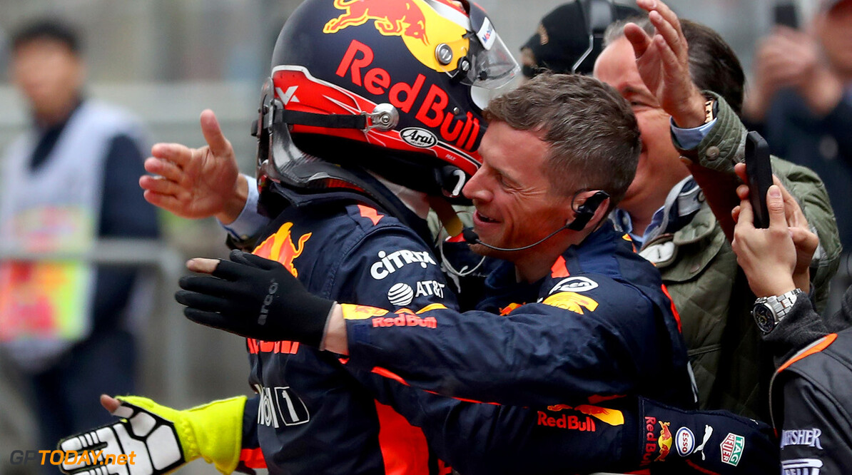 SHANGHAI, CHINA - APRIL 09:  Max Verstappen of Netherlands and Red Bull Racing celebrates finishing in third position with his team in parc ferme during the Formula One Grand Prix of China at Shanghai International Circuit on April 9, 2017 in Shanghai, China.  (Photo by Lars Baron/Getty Images) // Getty Images / Red Bull Content Pool  // P-20170409-00265 // Usage for editorial use only // Please go to www.redbullcontentpool.com for further information. //  F1 Grand Prix of China Lars Baron  China  P-20170409-00265