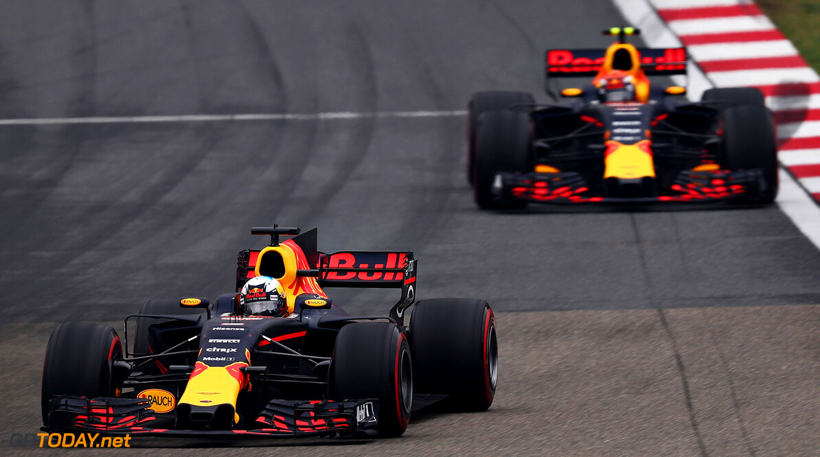 SHANGHAI, CHINA - APRIL 09:  Daniel Ricciardo of Australia driving the (3) Red Bull Racing Red Bull-TAG Heuer RB13 TAG Heuer leads Max Verstappen of the Netherlands driving the (33) Red Bull Racing Red Bull-TAG Heuer RB13 TAG Heuer during the Formula One Grand Prix of China at Shanghai International Circuit on April 9, 2017 in Shanghai, China.  (Photo by Lars Baron/Getty Images) // Getty Images / Red Bull Content Pool  // P-20170409-00160 // Usage for editorial use only // Please go to www.redbullcontentpool.com for further information. //  F1 Grand Prix of China Lars Baron  China  P-20170409-00160