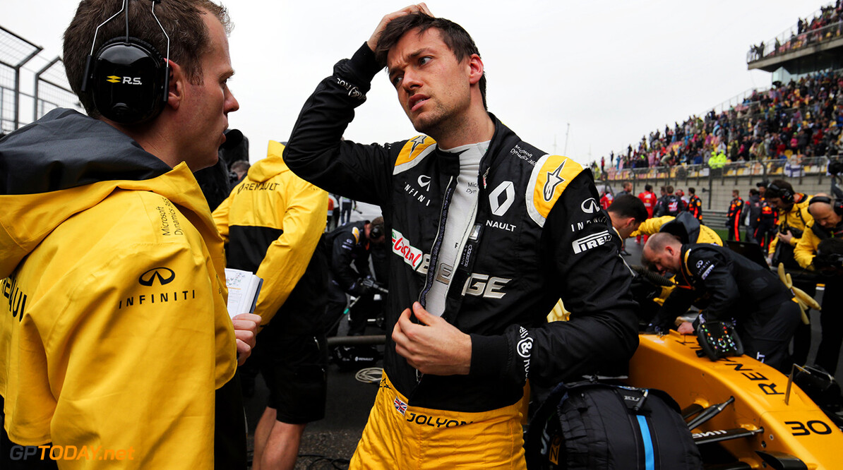 Formula One World Championship Jolyon Palmer (GBR) Renault Sport F1 Team on the grid. Chinese Grand Prix, Sunday 9th April 2017. Shanghai, China. Motor Racing - Formula One World Championship - Chinese Grand Prix - Race Day - Shanghai, China Renault Sport Formula One Team Shanghai China  Formula One Formula 1 F1 GP Grand Prix China Chinese Shanghai Shanghai International Circuit JM688 Portrait GP1702d