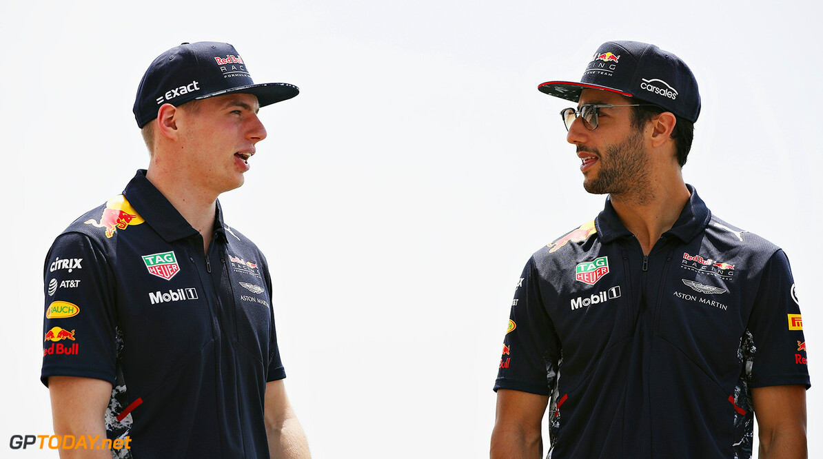 BAHRAIN, BAHRAIN - APRIL 13: Max Verstappen of Netherlands and Red Bull Racing and Daniel Ricciardo of Australia and Red Bull Racing talk during previews to the Bahrain Formula One Grand Prix at Bahrain International Circuit on April 13, 2017 in Bahrain, Bahrain.  (Photo by Mark Thompson/Getty Images) // Getty Images / Red Bull Content Pool  // P-20170413-00920 // Usage for editorial use only // Please go to www.redbullcontentpool.com for further information. //  F1 Grand Prix of Bahrain - Previews Mark Thompson  Bahrain  P-20170413-00920