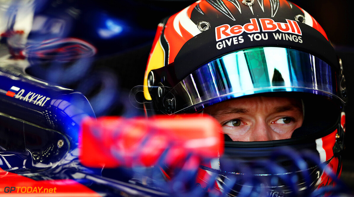 BAHRAIN, BAHRAIN - APRIL 14:  Daniil Kvyat of Russia and Scuderia Toro Rosso sits in his car in the garage during practice for the Bahrain Formula One Grand Prix at Bahrain International Circuit on April 14, 2017 in Bahrain, Bahrain.  (Photo by Lars Baron/Getty Images) // Getty Images / Red Bull Content Pool  // P-20170414-00629 // Usage for editorial use only // Please go to www.redbullcontentpool.com for further information. //  F1 Grand Prix of Bahrain - Practice Lars Baron  Bahrain  P-20170414-00629
