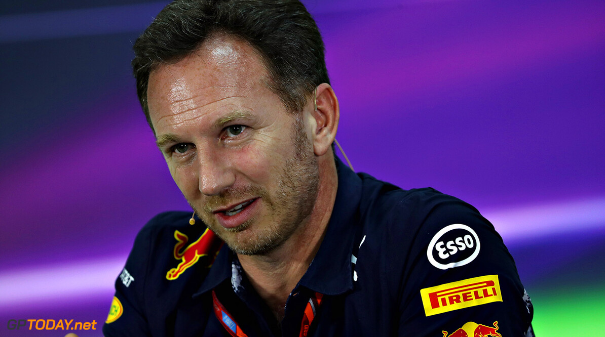 BAHRAIN, BAHRAIN - APRIL 14:  Red Bull Racing Team Principal Christian Horner in a press conference during practice for the Bahrain Formula One Grand Prix at Bahrain International Circuit on April 14, 2017 in Bahrain, Bahrain.  (Photo by Mark Thompson/Getty Images) // Getty Images / Red Bull Content Pool  // P-20170414-01388 // Usage for editorial use only // Please go to www.redbullcontentpool.com for further information. //  F1 Grand Prix of Bahrain - Practice Mark Thompson  Bahrain  P-20170414-01388