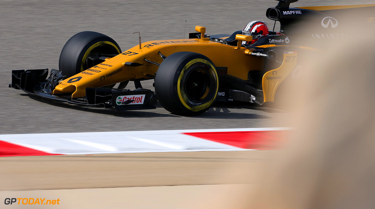 Formula One World Championship Nico Hulkenberg (GER) Renault Sport F1 Team RS17. Bahrain Grand Prix, Friday 14th April 2017. Sakhir, Bahrain. Motor Racing - Formula One World Championship - Bahrain Grand Prix - Practice Day - Sakhir, Bahrain Renault Sport Formula One Team Sakhir Bahrain  Formula One Formula 1 F1 GP Grand Prix Bahrain International Circuit BIC Bahrain Mamana Sakhir JM692 Hulkenberg H?lkenberg Huelkenberg Action Track GP1703b
