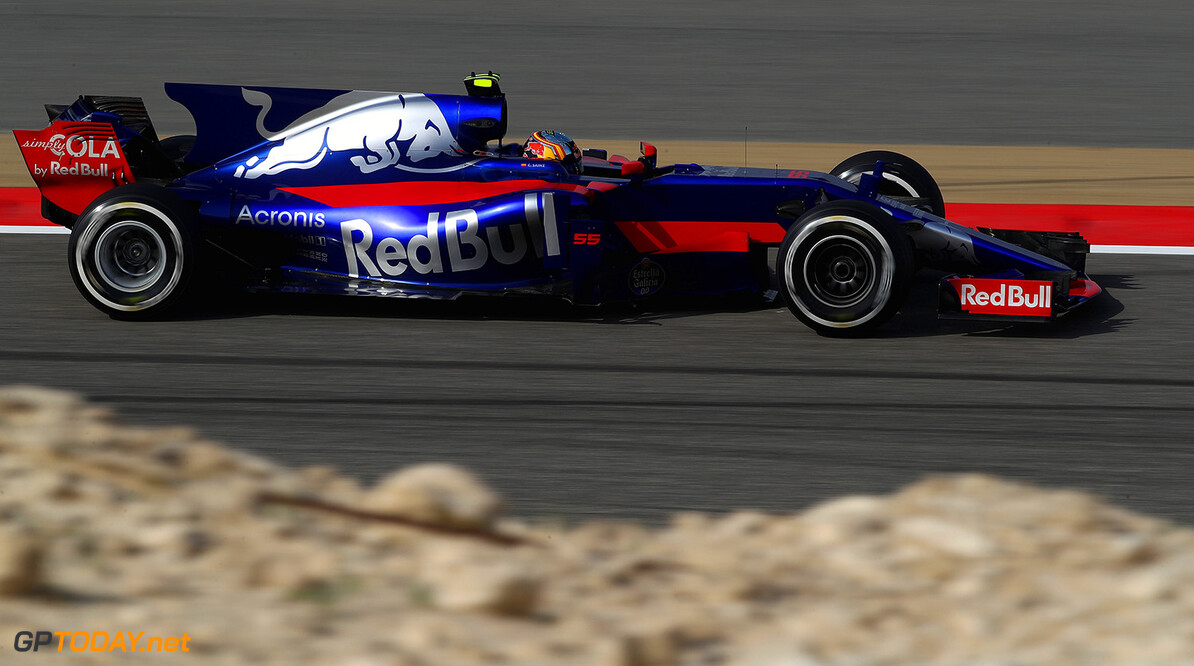 BAHRAIN, BAHRAIN - APRIL 14:  Carlos Sainz of Spain driving the (55) Scuderia Toro Rosso STR12 on track during practice for the Bahrain Formula One Grand Prix at Bahrain International Circuit on April 14, 2017 in Bahrain, Bahrain.  (Photo by Clive Mason/Getty Images) // Getty Images / Red Bull Content Pool  // P-20170414-00847 // Usage for editorial use only // Please go to www.redbullcontentpool.com for further information. //  F1 Grand Prix of Bahrain - Practice Clive Mason  Bahrain  P-20170414-00847