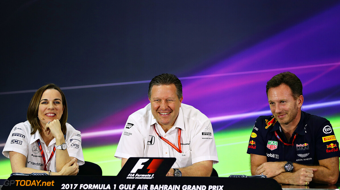 BAHRAIN, BAHRAIN - APRIL 14: A press conference with (from left) Williams Deputy Team Principal Claire Williams, McLaren Executive Director Zak Brown and Red Bull Racing Team Principal Christian Horner during practice for the Bahrain Formula One Grand Prix at Bahrain International Circuit on April 14, 2017 in Bahrain, Bahrain.  (Photo by Mark Thompson/Getty Images) // Getty Images / Red Bull Content Pool  // P-20170414-01397 // Usage for editorial use only // Please go to www.redbullcontentpool.com for further information. //  F1 Grand Prix of Bahrain - Practice Mark Thompson  Bahrain  P-20170414-01397