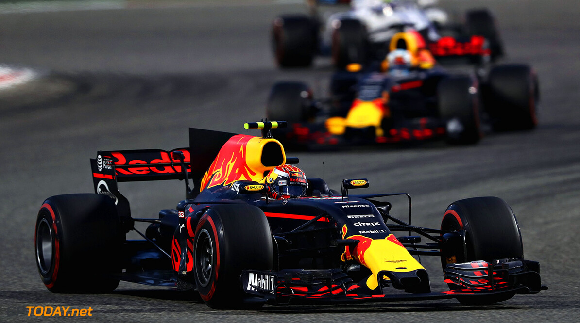 BAHRAIN, BAHRAIN - APRIL 16: Max Verstappen of the Netherlands driving the (33) Red Bull Racing Red Bull-TAG Heuer RB13 TAG Heuer leads Daniel Ricciardo of Australia driving the (3) Red Bull Racing Red Bull-TAG Heuer RB13 TAG Heuer on track during the Bahrain Formula One Grand Prix at Bahrain International Circuit on April 16, 2017 in Bahrain, Bahrain.  (Photo by Mark Thompson/Getty Images) // Getty Images / Red Bull Content Pool  // P-20170416-01158 // Usage for editorial use only // Please go to www.redbullcontentpool.com for further information. //  F1 Grand Prix of Bahrain Mark Thompson  Bahrain  P-20170416-01158