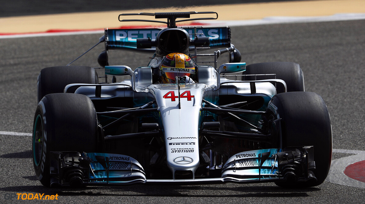 Bahrain International Circuit, Sakhir, Bahrain.  Tuesday 18 April 2017. Lewis Hamilton, Mercedes F1 W08 EQ Power+. World Copyright: Glenn Dunbar/LAT Images ref: Digital Image _X4I2056  Glenn Dunbar    f1 formula 1 formula one test Action