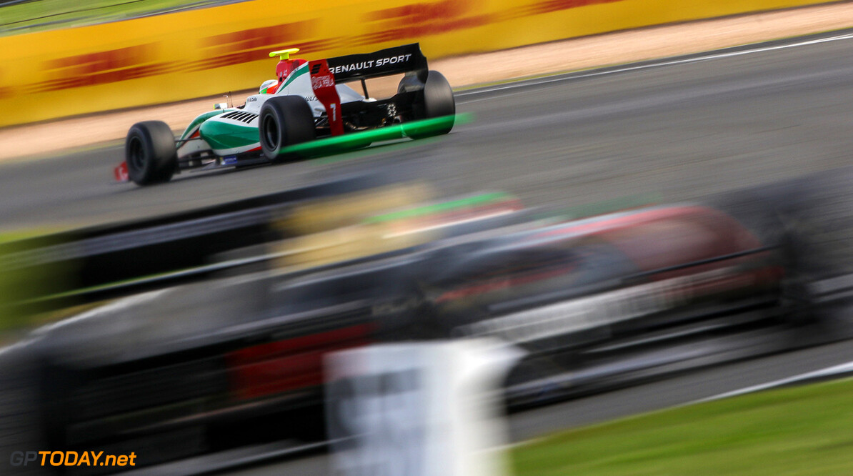 SILVERSTONE (GBR) APR 13-16 2017 - First round of the Worldseries Formula V8 3.5 at Silverstone Circuit. Alfonso Celis #7 Fortec Motorsports. Action. (C) 2017 Klaas Norg  / Dutch Photo Agency SILVERSTONE RACING FORMULA V8     Auto Autosport Car Formula Michelin Motorsports Race Racing Renault Silverstone Track UK World Series