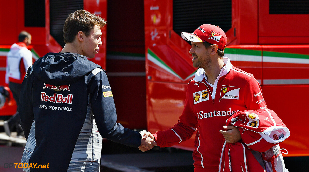 MONTMELO, SPAIN - MAY 11:  Sebastian Vettel of Germany and Ferrari talks with Daniil Kvyat of Russia and Scuderia Toro Rosso in the Paddock during previews for the Spanish Formula One Grand Prix at Circuit de Catalunya on May 11, 2017 in Montmelo, Spain.  (Photo by David Ramos/Getty Images) // Getty Images / Red Bull Content Pool  // P-20170511-00423 // Usage for editorial use only // Please go to www.redbullcontentpool.com for further information. //  Spanish F1 Grand Prix - Previews David Ramos  Spain  P-20170511-00423