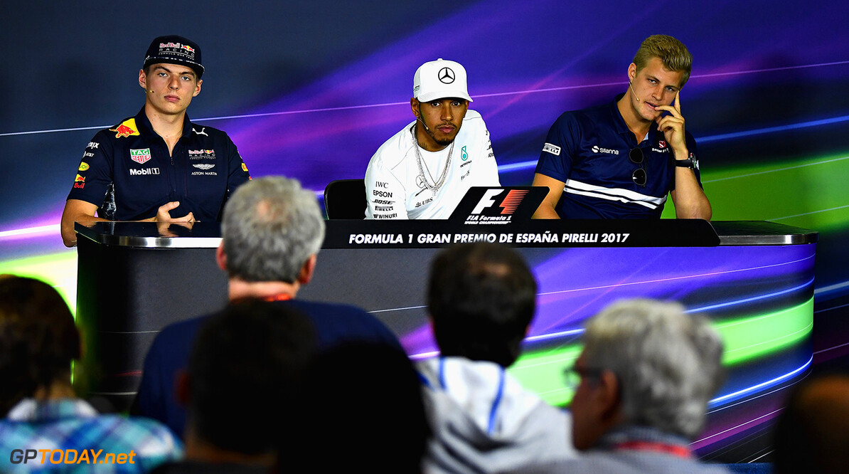 MONTMELO, SPAIN - MAY 11: The Drivers Press Conference withc Max Verstappen of Netherlands and Red Bull Racing, Lewis Hamilton of Great Britain and Mercedes GP and Marcus Ericsson of Sweden and Sauber F1 during previews for the Spanish Formula One Grand Prix at Circuit de Catalunya on May 11, 2017 in Montmelo, Spain.  (Photo by David Ramos/Getty Images) // Getty Images / Red Bull Content Pool  // P-20170511-00653 // Usage for editorial use only // Please go to www.redbullcontentpool.com for further information. //  Spanish F1 Grand Prix - Previews David Ramos  Spain  P-20170511-00653