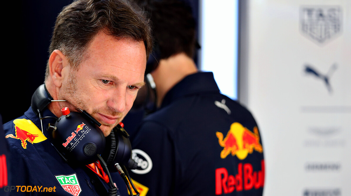 MONTMELO, SPAIN - MAY 12:  Red Bull Racing Team Principal Christian Horner in the garage during practice for the Spanish Formula One Grand Prix at Circuit de Catalunya on May 12, 2017 in Montmelo, Spain.  (Photo by Mark Thompson/Getty Images) // Getty Images / Red Bull Content Pool  // P-20170512-00411 // Usage for editorial use only // Please go to www.redbullcontentpool.com for further information. //  Spanish F1 Grand Prix - Practice Mark Thompson  Spain  P-20170512-00411
