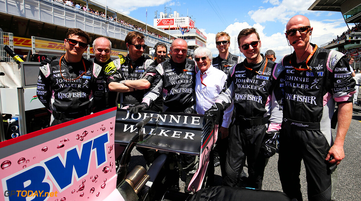 Formula One World Championship Bernie Ecclestone (GBR) with the Sahara Force India F1 Team on the grid. Spanish Grand Prix, Sunday 14th May 2017. Barcelona, Spain. Motor Racing - Formula One World Championship - Spanish Grand Prix - Race Day - Barcelona, Spain James Moy Photography Barcelona Spain  Formula One Formula 1 F1 GP Grand Prix Spanish Spain Barcelona Catalunya Circuit de Catalunya Montmelo JM706 Portrait GP1705d GP1705d_M