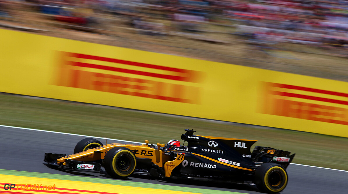 Formula One World Championship Nico Hulkenberg (GER) Renault Sport F1 Team RS17. Spanish Grand Prix, Sunday 14th May 2017. Barcelona, Spain. Motor Racing - Formula One World Championship - Spanish Grand Prix - Race Day - Barcelona, Spain Renault Sport Formula One Team Barcelona Spain  Formula One Formula 1 F1 GP Grand Prix Spanish Spain Barcelona Catalunya Circuit de Catalunya Montmelo JM706 Hulkenberg H?lkenberg Huelkenberg Action Track GP1705d
