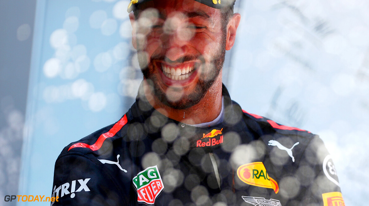 MONTMELO, SPAIN - MAY 14:  Third placed finisher Daniel Ricciardo of Australia and Red Bull Racing celebrates on the podium during the Spanish Formula One Grand Prix at Circuit de Catalunya on May 14, 2017 in Montmelo, Spain.  (Photo by Dan Istitene/Getty Images) // Getty Images / Red Bull Content Pool  // P-20170514-00854 // Usage for editorial use only // Please go to www.redbullcontentpool.com for further information. //  Spanish F1 Grand Prix Dan Istitene  Spain  P-20170514-00854