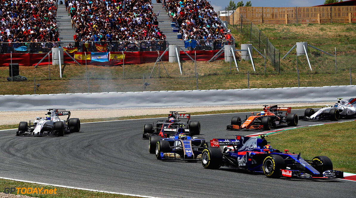 MONTMELO, SPAIN - MAY 14: Daniil Kvyat of Russia driving the (26) Scuderia Toro Rosso STR12 leads Pascal Wehrlein of Germany driving the (94) Sauber F1 Team Sauber C36 Ferrari on track during the Spanish Formula One Grand Prix at Circuit de Catalunya on May 14, 2017 in Montmelo, Spain.  (Photo by Mark Thompson/Getty Images) // Getty Images / Red Bull Content Pool  // P-20170514-01334 // Usage for editorial use only // Please go to www.redbullcontentpool.com for further information. //  Spanish F1 Grand Prix Mark Thompson  Spain  P-20170514-01334