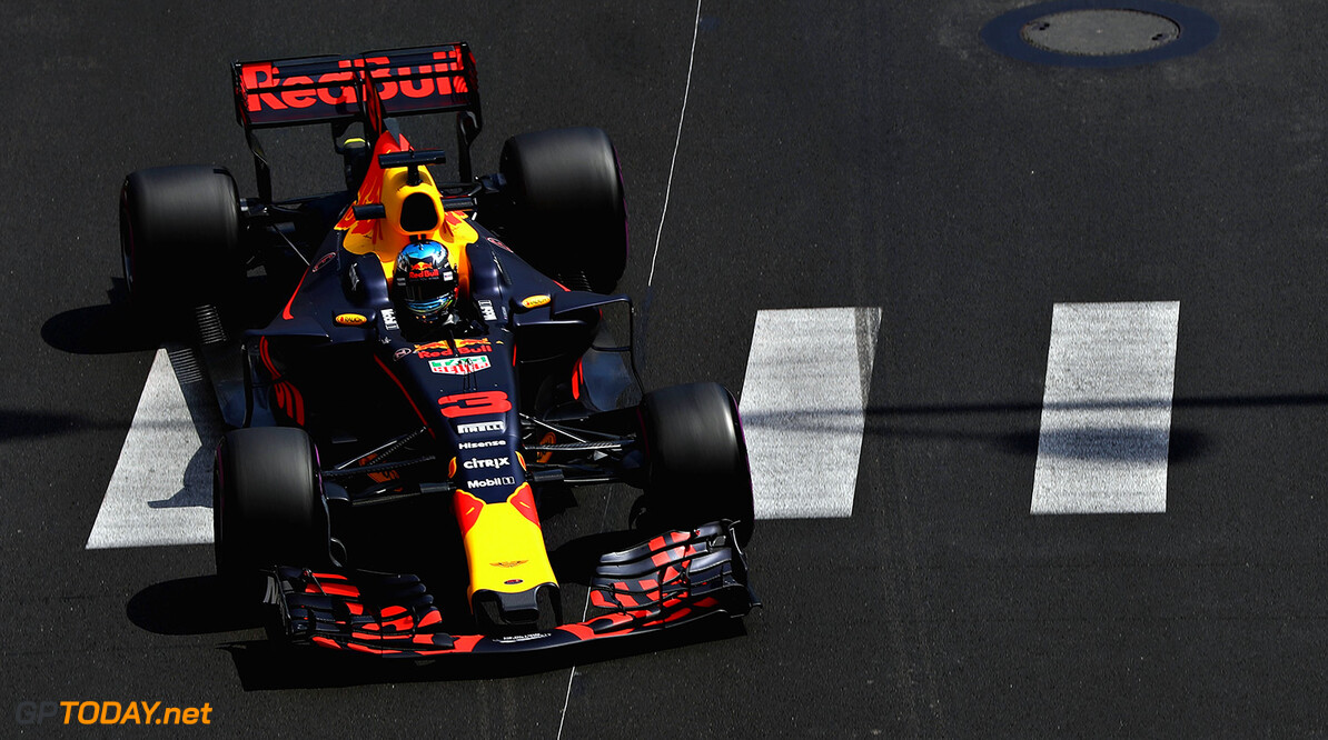 MONTE-CARLO, MONACO - MAY 25: Daniel Ricciardo of Australia driving the (3) Red Bull Racing Red Bull-TAG Heuer RB13 TAG Heuer on track during practice for the Monaco Formula One Grand Prix at Circuit de Monaco on May 25, 2017 in Monte-Carlo, Monaco.  (Photo by Mark Thompson/Getty Images) // Getty Images / Red Bull Content Pool  // P-20170525-00659 // Usage for editorial use only // Please go to www.redbullcontentpool.com for further information. //  F1 Grand Prix of Monaco - Practice Mark Thompson Monte-Carlo (City) Monaco  P-20170525-00659