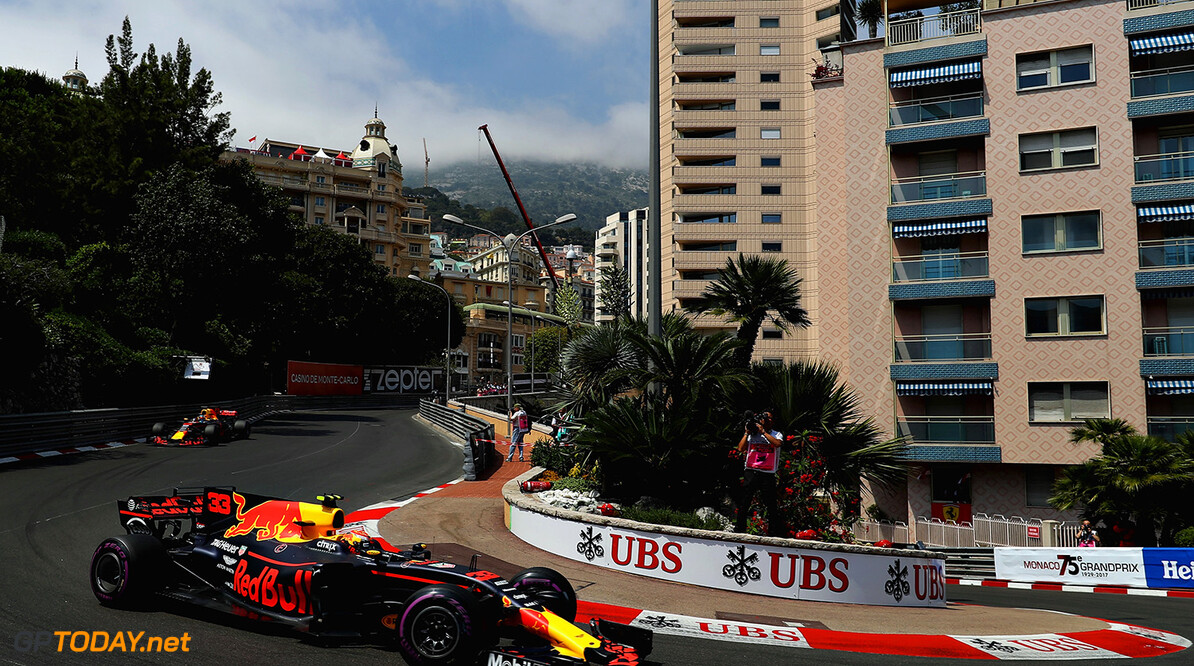 MONTE-CARLO, MONACO - MAY 25: Max Verstappen of the Netherlands driving the (33) Red Bull Racing Red Bull-TAG Heuer RB13 TAG Heuer on track during practice for the Monaco Formula One Grand Prix at Circuit de Monaco on May 25, 2017 in Monte-Carlo, Monaco.  (Photo by Mark Thompson/Getty Images) // Getty Images / Red Bull Content Pool  // P-20170525-00848 // Usage for editorial use only // Please go to www.redbullcontentpool.com for further information. //  F1 Grand Prix of Monaco - Practice Mark Thompson Monte-Carlo (City) Monaco  P-20170525-00848
