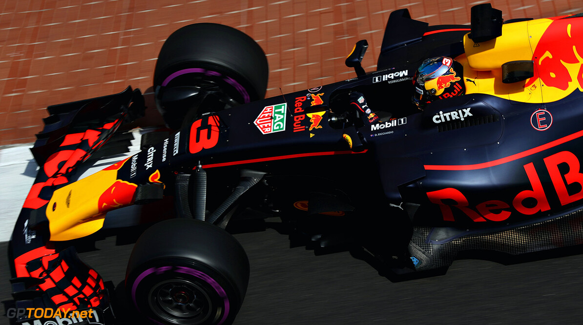 MONTE-CARLO, MONACO - MAY 25: Daniel Ricciardo of Australia driving the (3) Red Bull Racing Red Bull-TAG Heuer RB13 TAG Heuer on track during practice for the Monaco Formula One Grand Prix at Circuit de Monaco on May 25, 2017 in Monte-Carlo, Monaco.  (Photo by Mark Thompson/Getty Images) // Getty Images / Red Bull Content Pool  // P-20170525-00807 // Usage for editorial use only // Please go to www.redbullcontentpool.com for further information. //  F1 Grand Prix of Monaco - Practice Mark Thompson Monte-Carlo (City) Monaco  P-20170525-00807