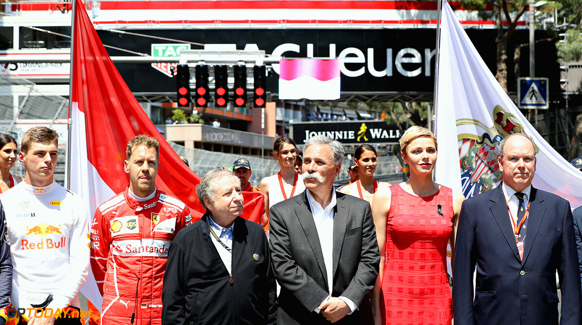 MONTE-CARLO, MONACO - MAY 28:  Prince Albert II of Monaco, Princess Charlene of Monaco, Max Verstappen of Netherlands and Red Bull Racing, Sebastian Vettel of Germany and Ferrari, FIA President Jean Todt, and Chase Carey, CEO and Executive Chairman of the Formula One Group on the grid during the Monaco Formula One Grand Prix at Circuit de Monaco on May 28, 2017 in Monte-Carlo, Monaco.  (Photo by Mark Thompson/Getty Images) // Getty Images / Red Bull Content Pool  // P-20170528-00323 // Usage for editorial use only // Please go to www.redbullcontentpool.com for further information. //  F1 Grand Prix of Monaco Mark Thompson Monte-Carlo (City) Monaco  P-20170528-00323